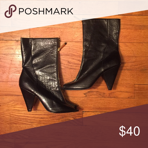 Jeffrey Campbell patent leather calf booties Black patent boot with front gold zipper Christian Siriano Shoes Heeled Boots