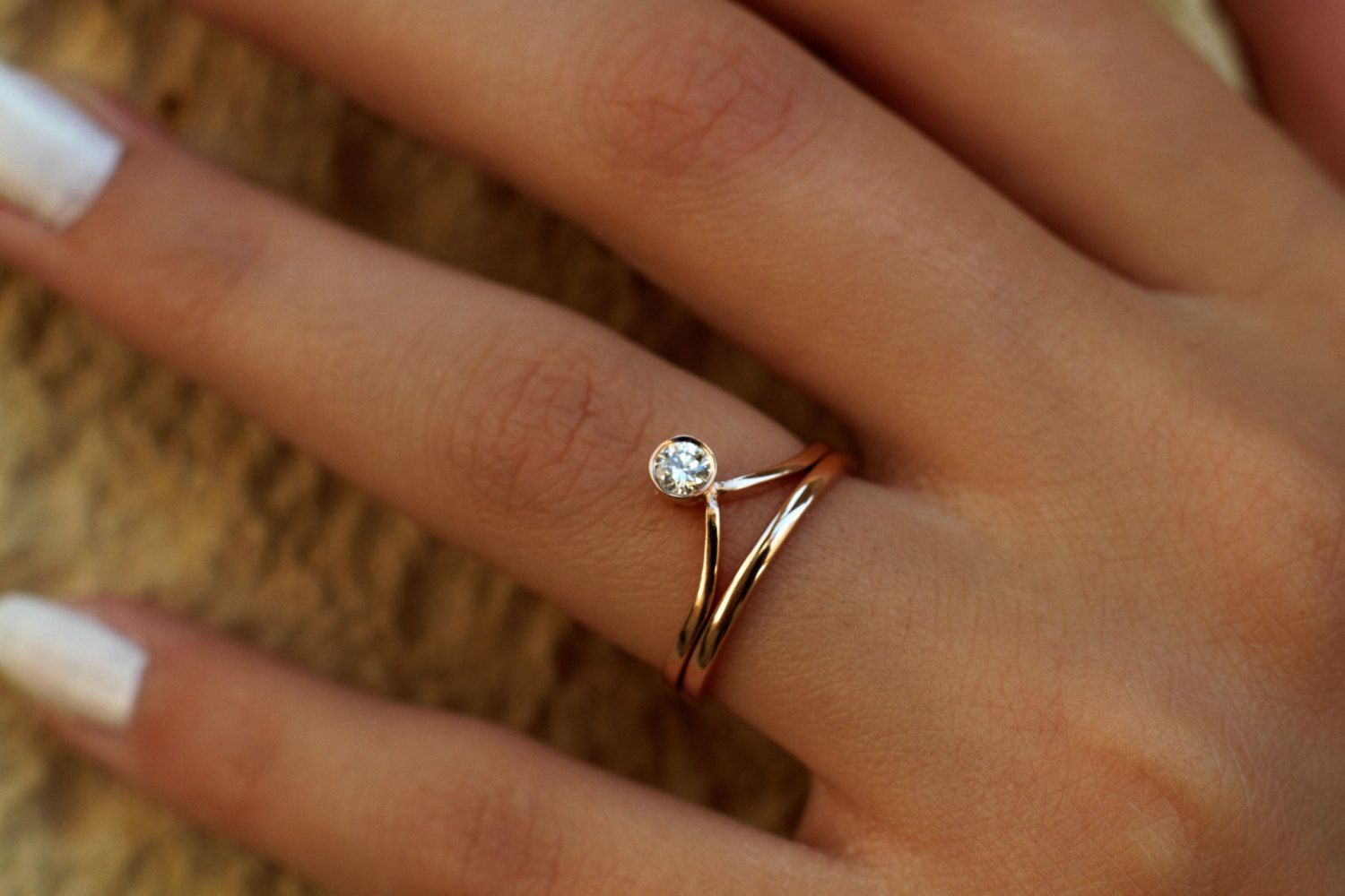 Gold Chevron Engagement Ring Wedding Band Solitaire Rings