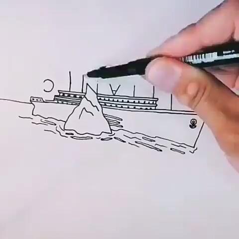 The Word Titanic Turn Into A Titanic Ship Easy Video In 2020 Titanic Art Titanic Drawing Titanic Ship