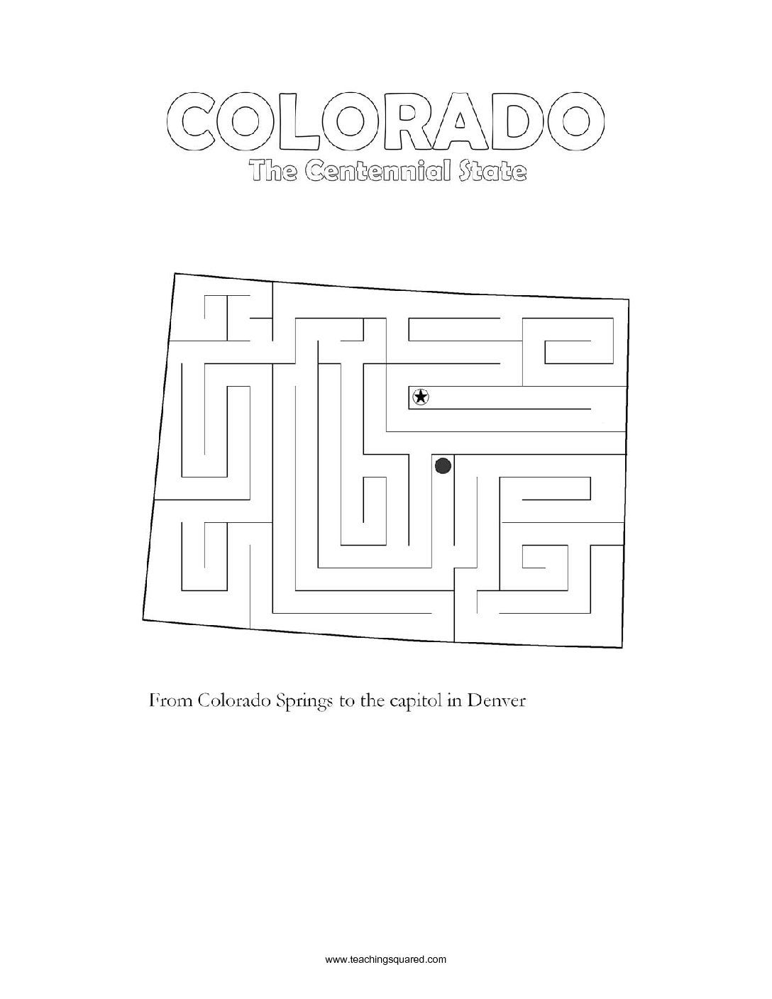 Fun Colorado Maze Game Top Worksheets