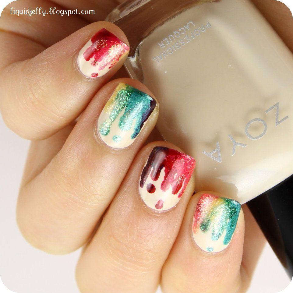 Rainbow Drip Nails @Rebecka Key