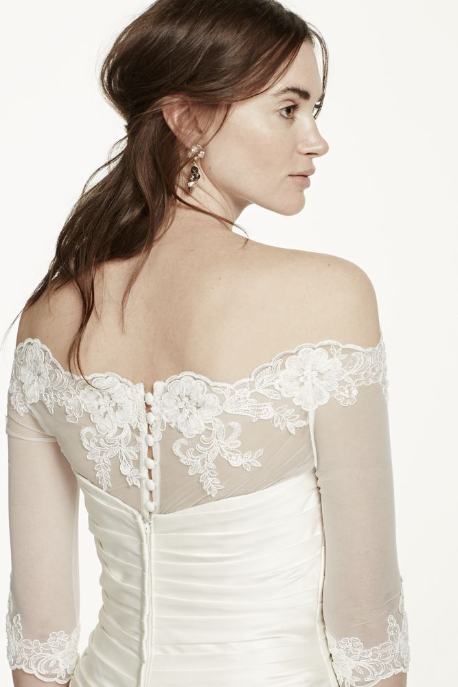 a0e4ac40935 Off the Shoulder Tulle Topper with Lace Appliques - Soft White