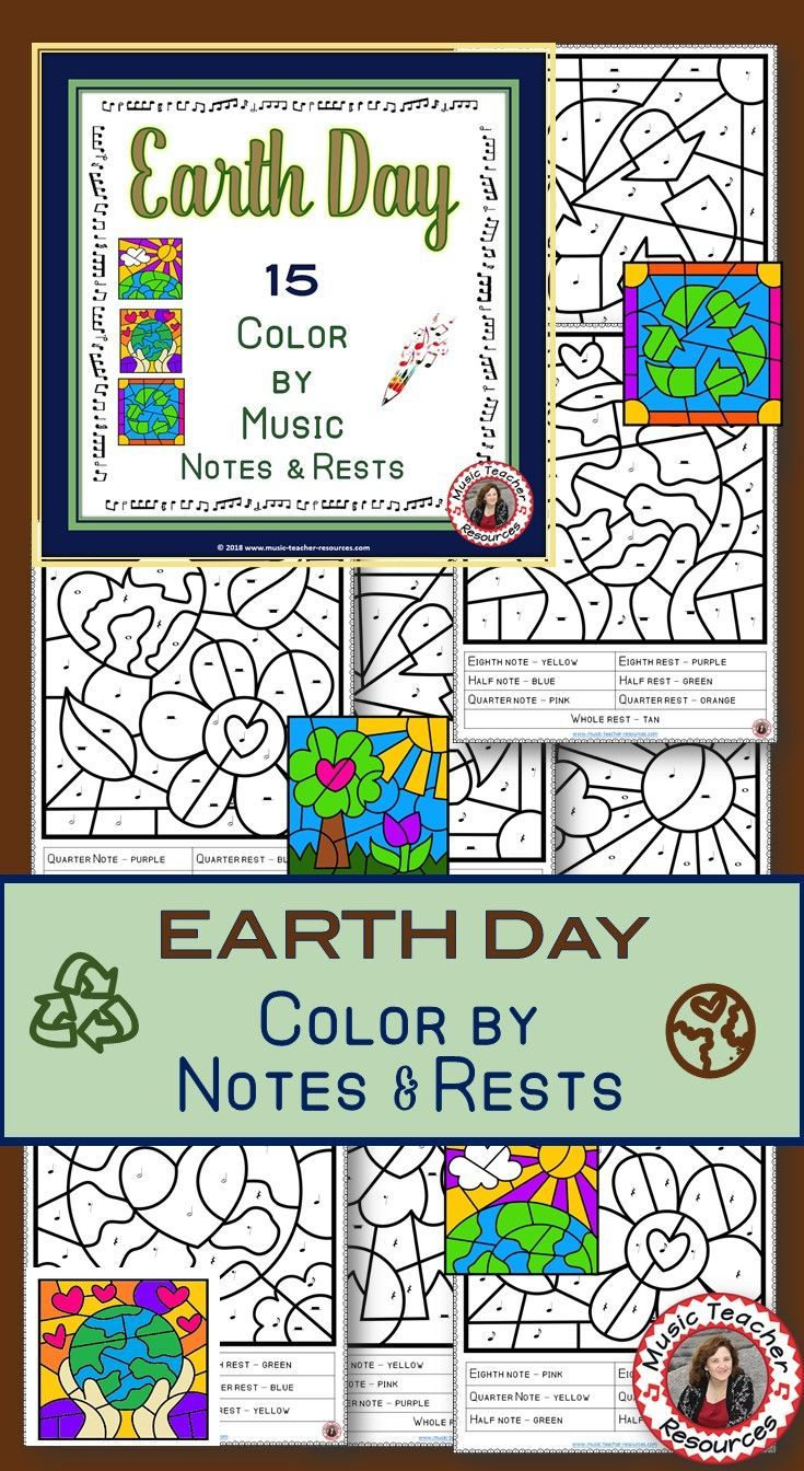 EARTH DAY Music Coloring Pages: 15 Music Coloring Sheets | Music class