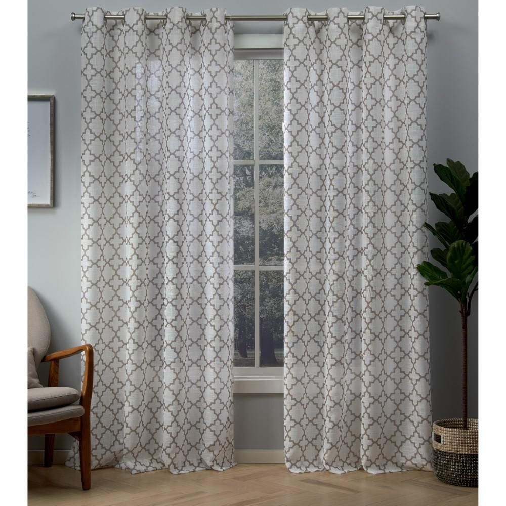 Exclusive Home Curtains Helena Natural Printed Sheer Grommet Top Curtain 54 In W X 96 L
