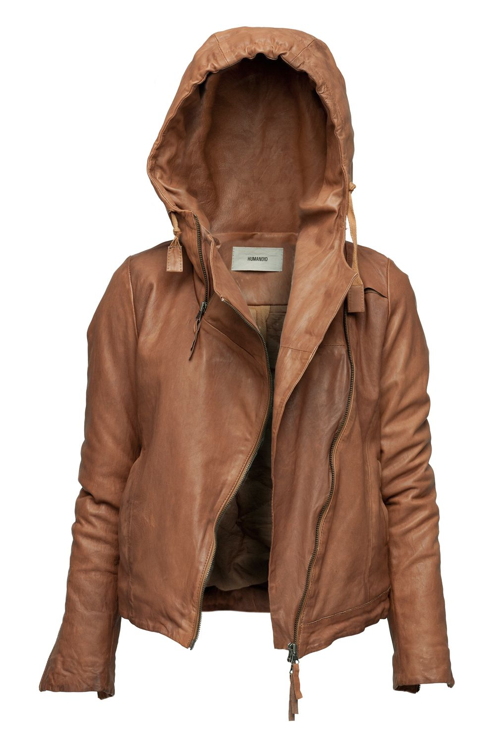 Leather hoodie.