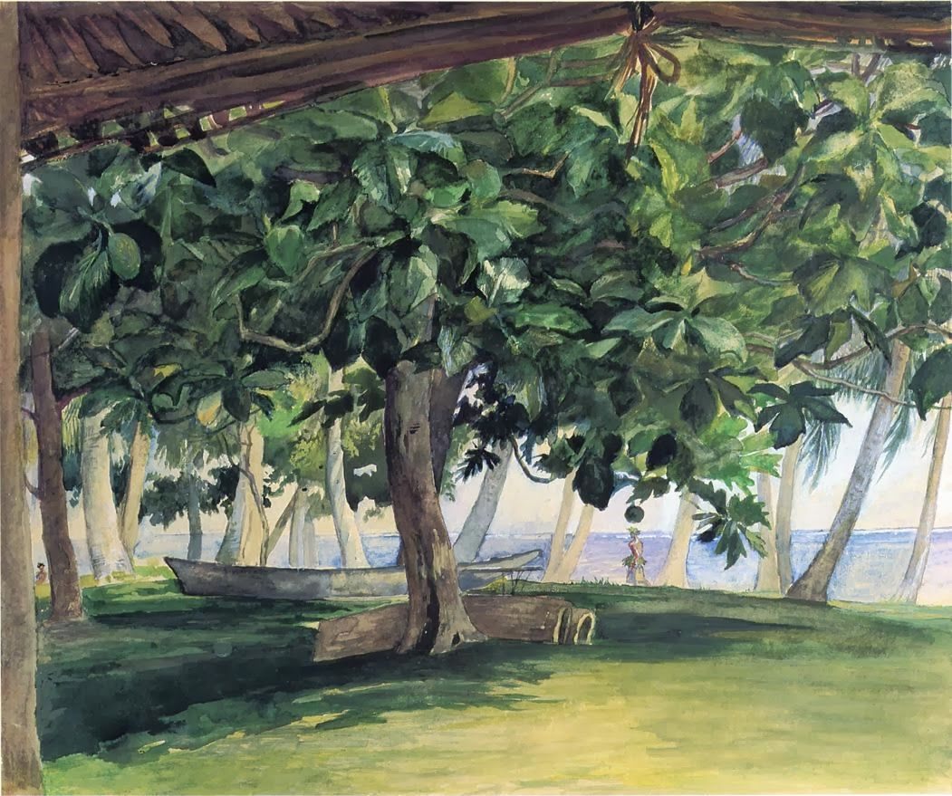 View from Hut, at Vaiala in Upolu - John La Farge, 1890 American 1835-1910 watercolor and gouache over pencil on paper , 28.58 cm (11.25 in.) x 30.48 cm (12 in.) McNay Art Museum (United States)