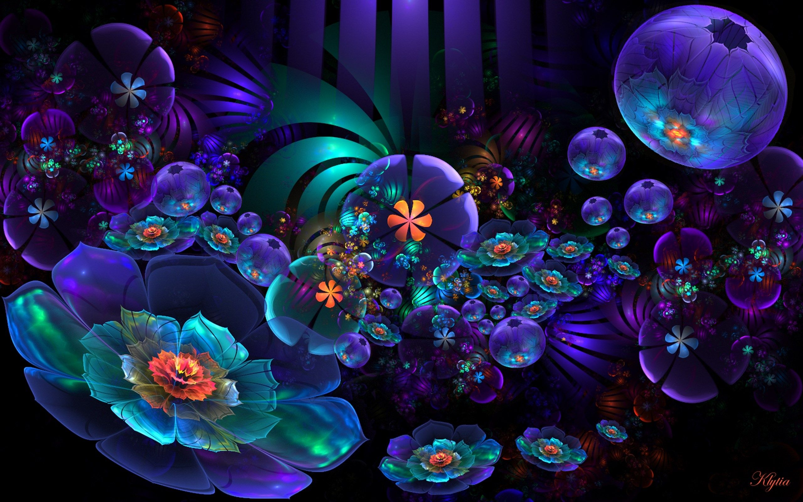 View Download Comment And Rate This 2560x1600 Neon Flower Abstract Wallpaper Wallpaper Abyss Psychedelic Art Abstract Neon Flowers