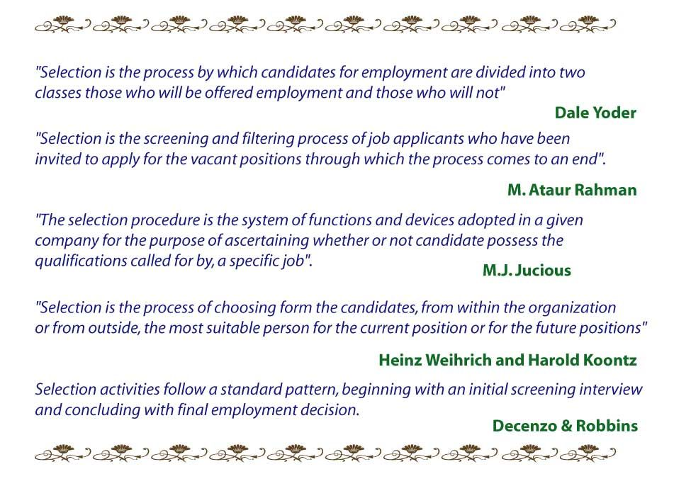 Definition of selection Human Resource Management Pinterest - human resource management job description