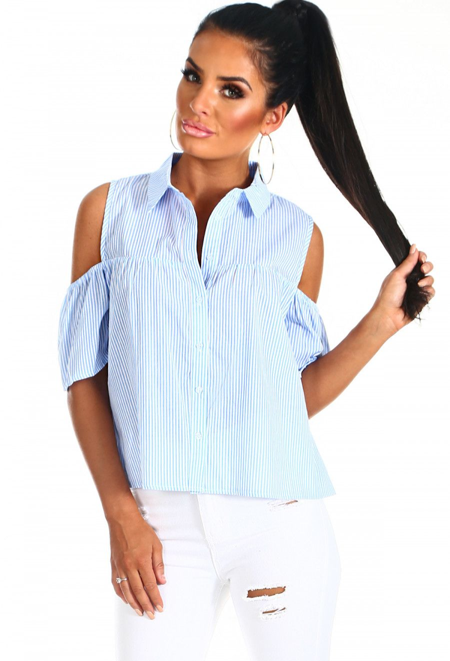 cdab2ff2b617 Spring Retreat Blue and White Stripe Cold Shoulder Shirt | Pink Boutique