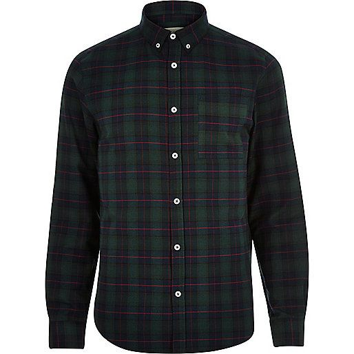 Green check brushed flannel shirt - check shirts - shirts - men ...