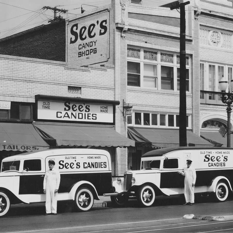 Vintage los angeles photo see s candies shop and delivery truck