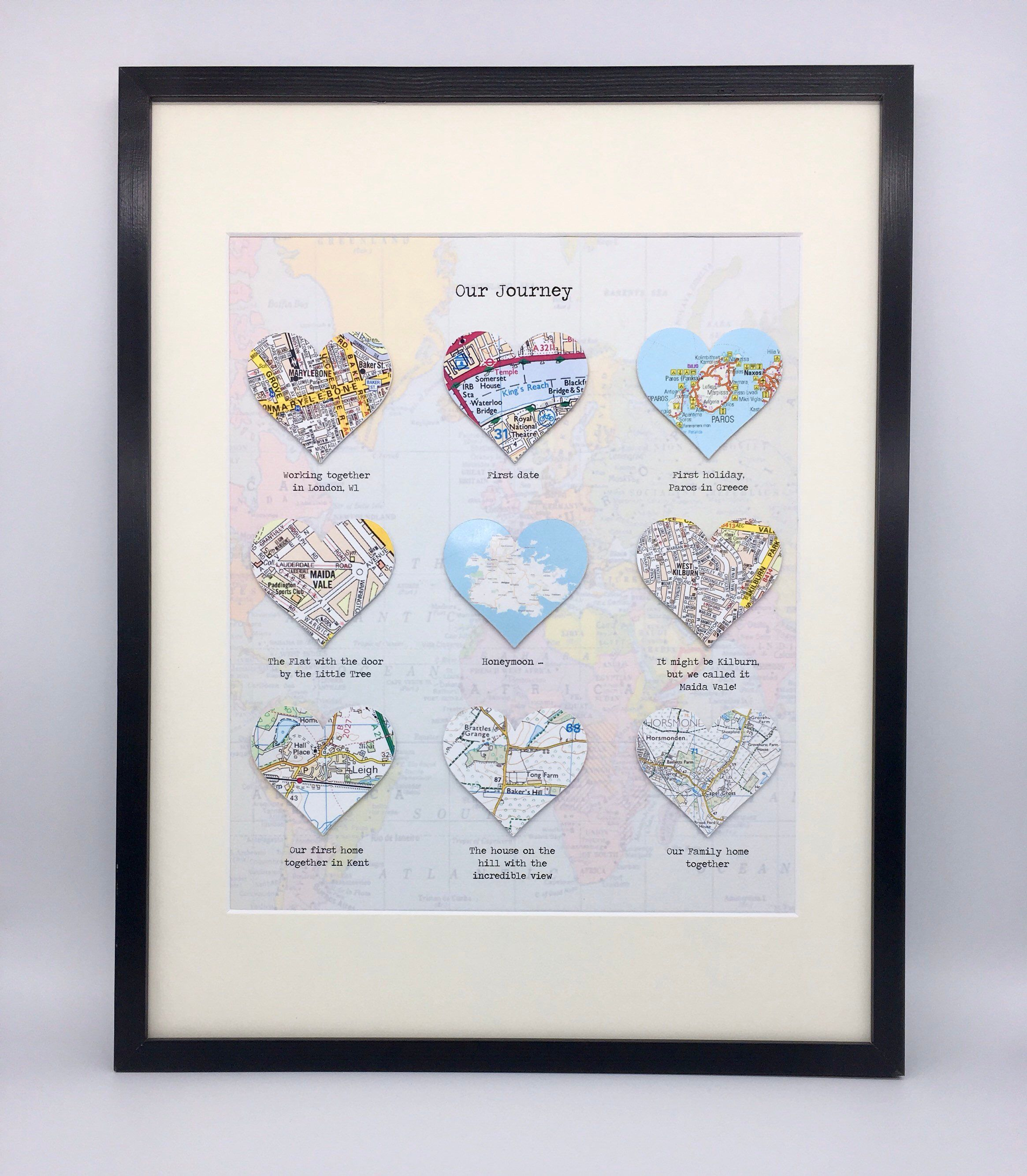 Photo of Personalised Hearts for Wedding, Anniversary, Engagement, Birthday Gift, Memory Map Frame Any Text or Location using Current Maps