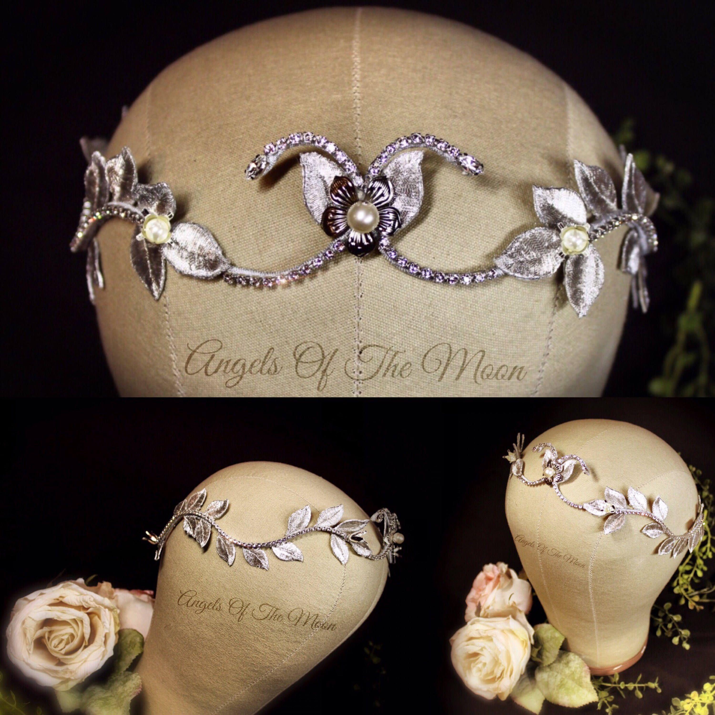 Leaf bridal crown bridal crown silver flower crown angels of the leaf bridal crown bridal crown silver flower crown izmirmasajfo