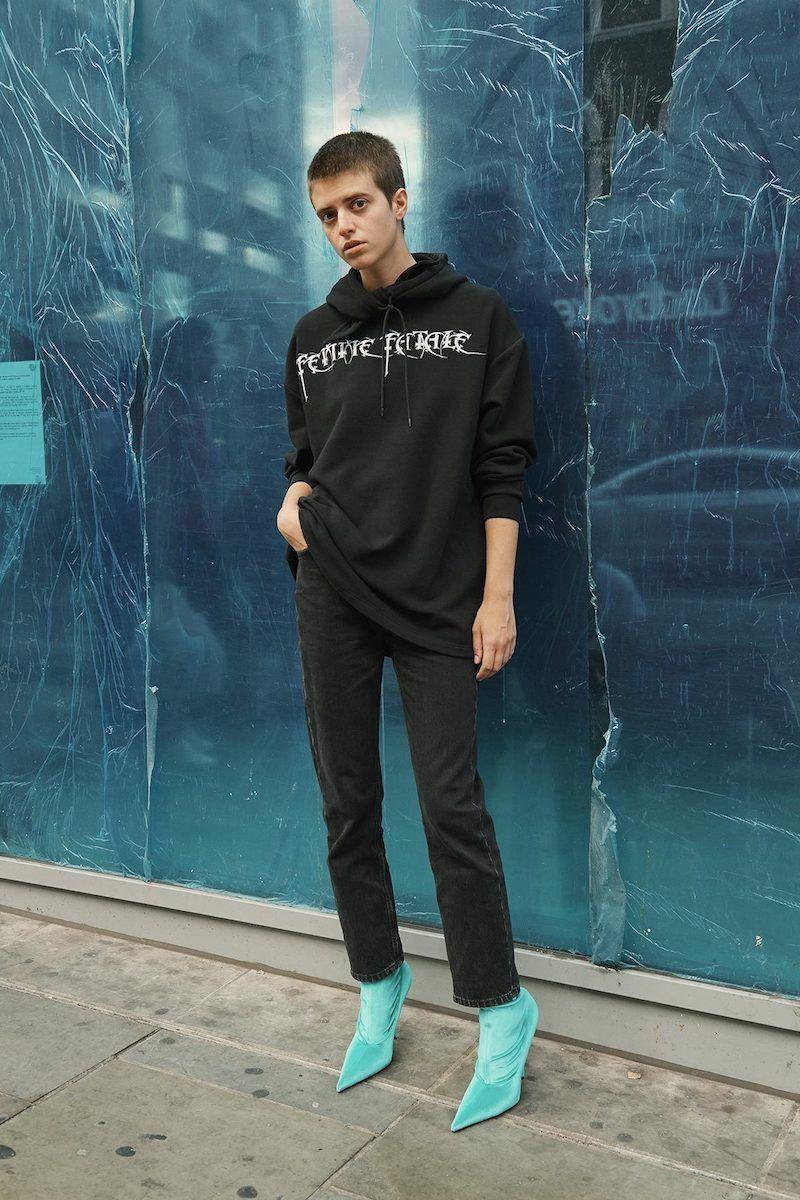Balenciaga Black 'Femme Fatale' Headscarf Hoodie