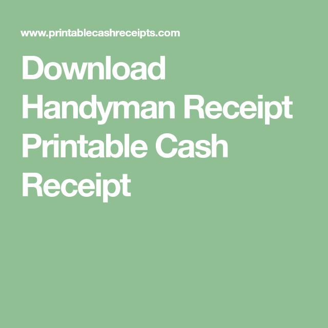 Download Handyman Receipt Printable Cash Receipt Receipt Template Cash Printables