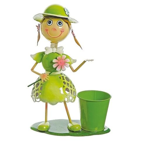 17 Lime Green Girl With Flower Decorative Spring Outdoor Garden Planter (Metal) #Northlight