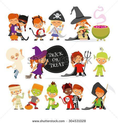 happy halloween set of cute cartoon children in colorful halloween costumescatpirate - Happy Halloween Cartoon Pics