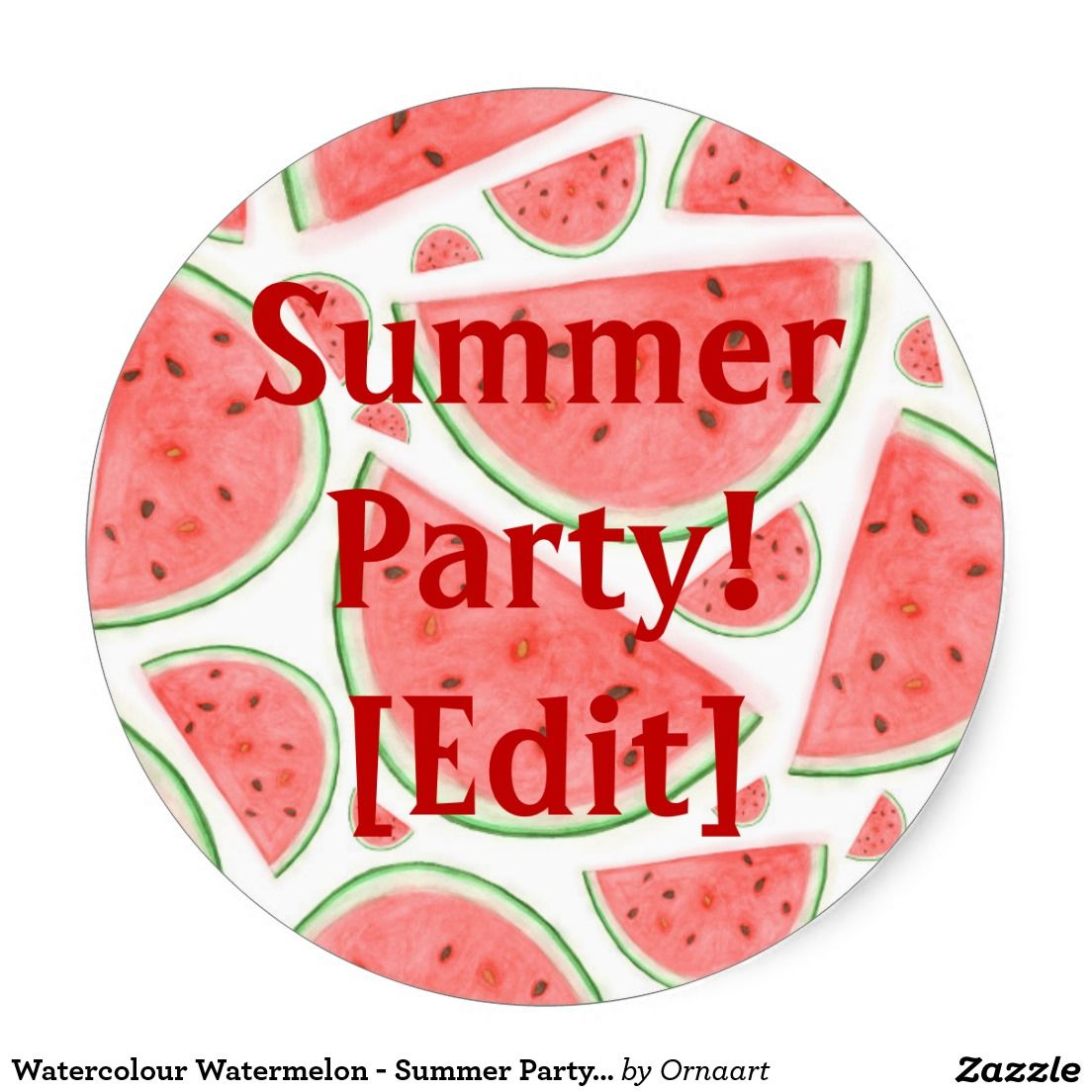 Watercolour Watermelon - Summer Party Sticker