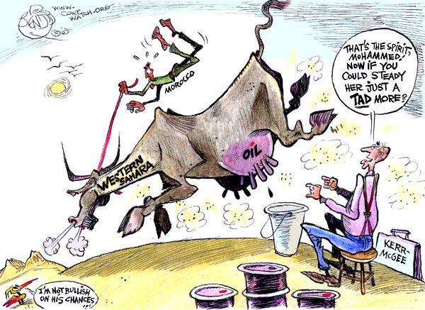 Kerr Mcgee Corporation Total Corpwatch Cartoon By Khalil Bendib 05 Cartoon Sahara Westerns