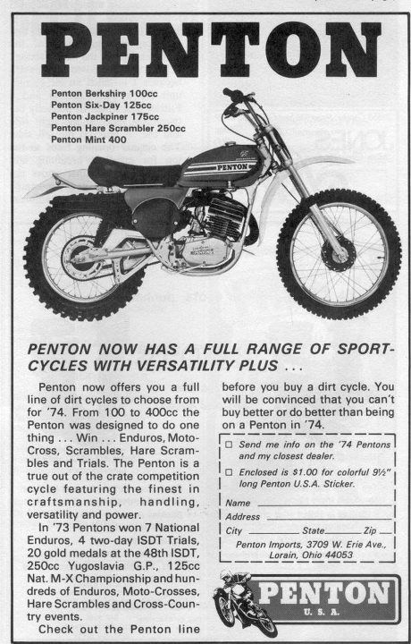 1974 Penton Ad I Recall The Day Every Young Guy Wanted One Vintage Motorcycle Posters Motorcycle Dirt Bike Dirt Bike Racing