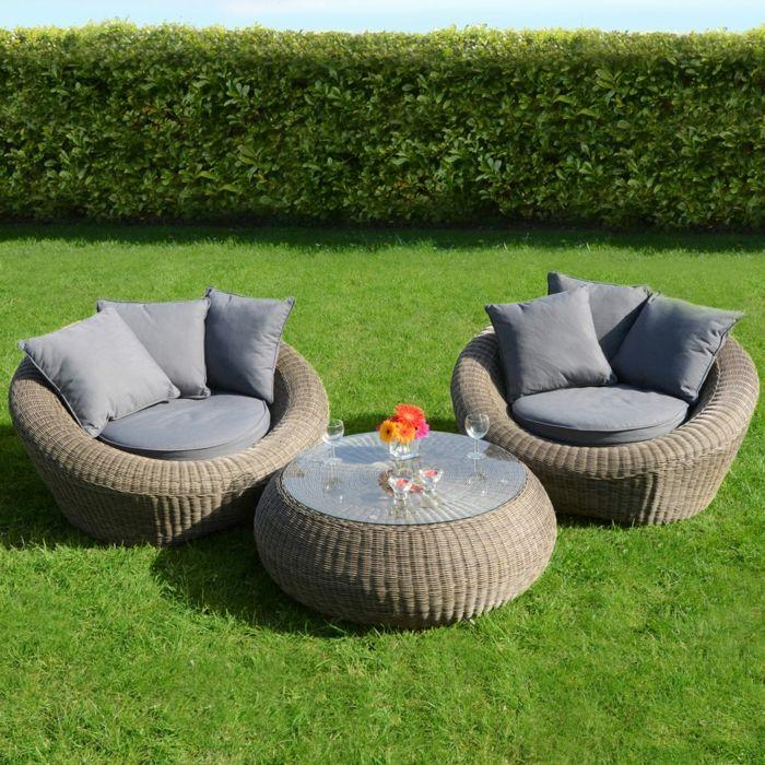 Rattan Gartenmöbel Elegant Rund Gartenauflagen