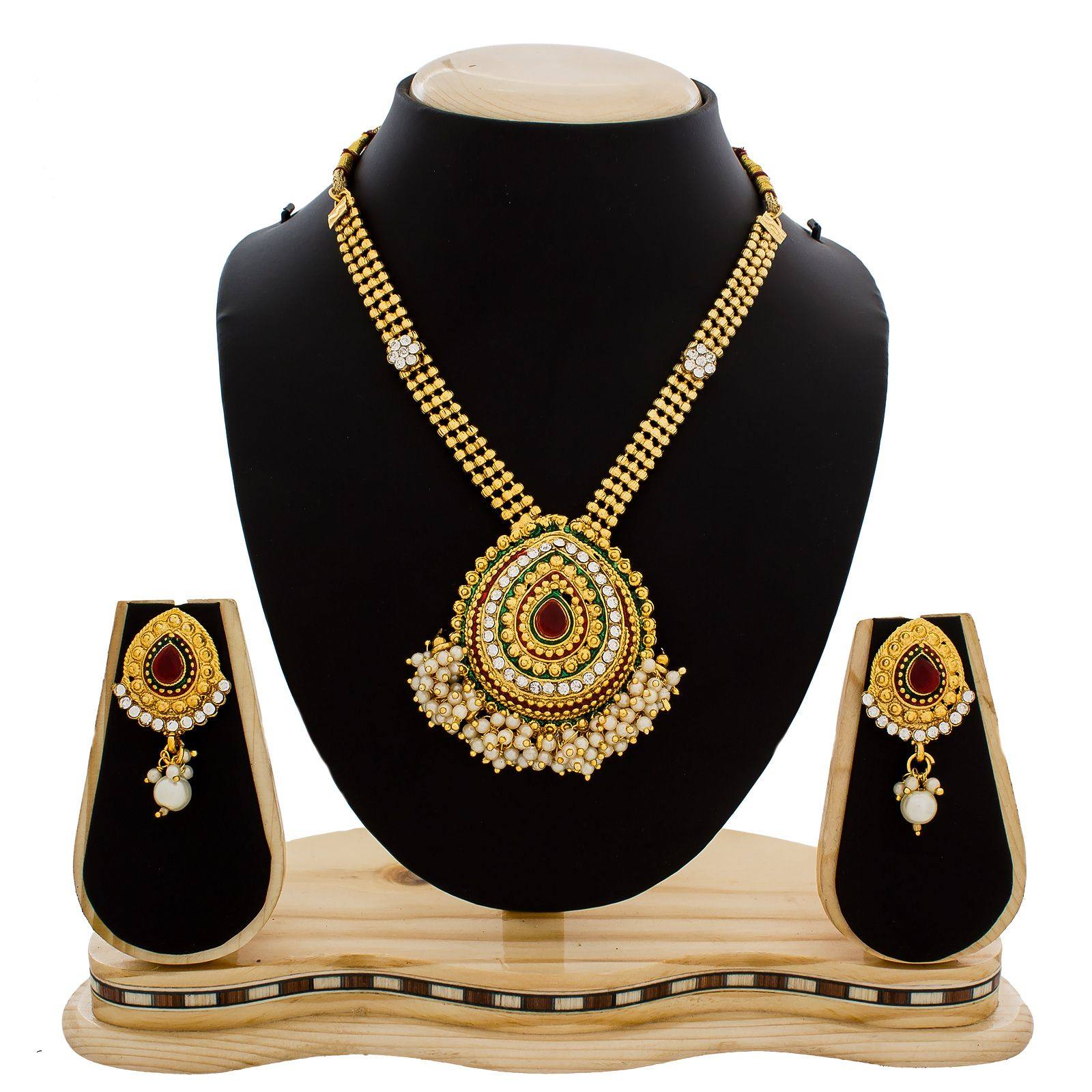 Gold rani haar pictures to pin on pinterest - Designer Pearl Studded Red And Green Necklace Set