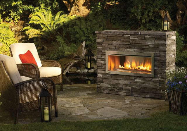 Contemporary Outdoor Gas Fireplace Ideas With Cushion Chair Sofa