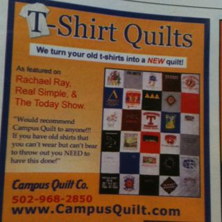 I saw this in a magazine seems like a great idea make a quilt of some of your old favorite tee shirts gotta try it