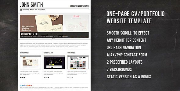 John Smith Personal CV\/Portfolio Website Template John smith - personal resume website template