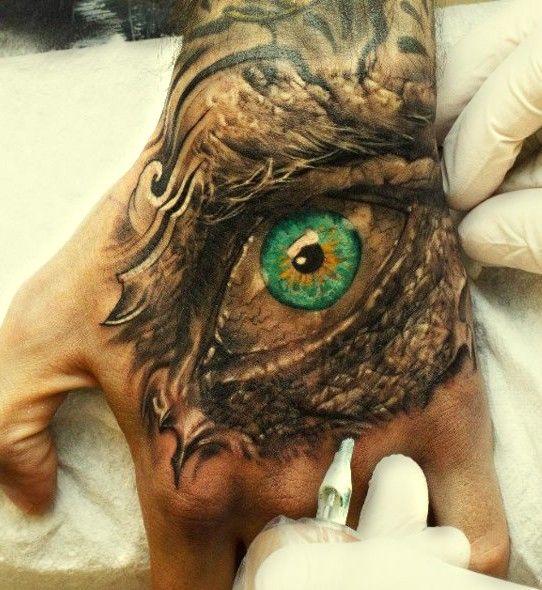 green #eye #tattoo on hand #eyetattoo