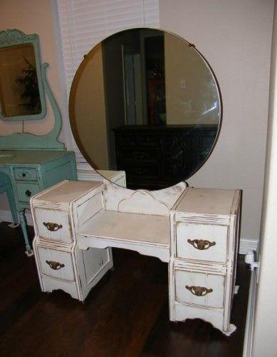vintage vanity with round mirror.  Simple Matters Shabby Chic White Antique Vanity with Round Mirror 175