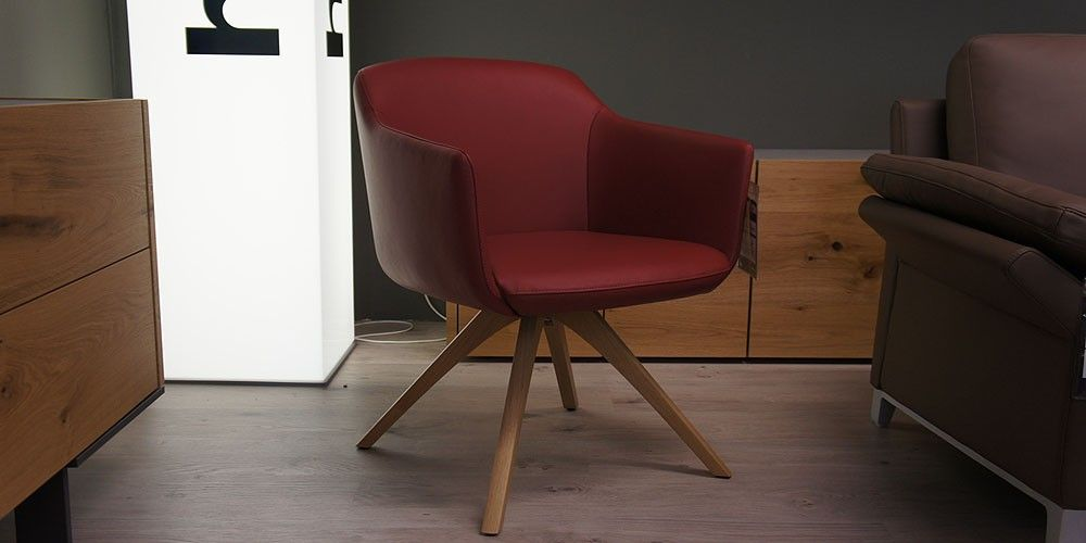 Rolf Benz 640 Stuhl Esszimmer Buro Leder Rot Eiche