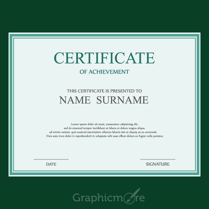 Simple Green Border Certificate Design Template Free Vector File - copy free certificate of completion templates for word