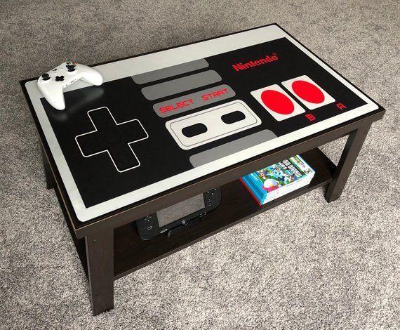 Nintendo Custom Nes Retro Video Game Controller Coffee Table Coffee Controller Custom Game Nes En 2020 Salles De Jeux Videos Decoration Pour Garcon Salle De Geek