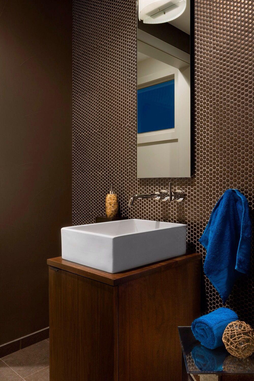 Ann Sacks Savoy Bronze Penny Modern Powder Rooms Powder Room Design Powder Room