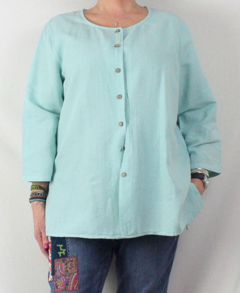 24825025abe8 Pretty Sky Blue Hot Cotton Blouse XL size Nice Linen Cotton Lightweight  Shirt Jacket