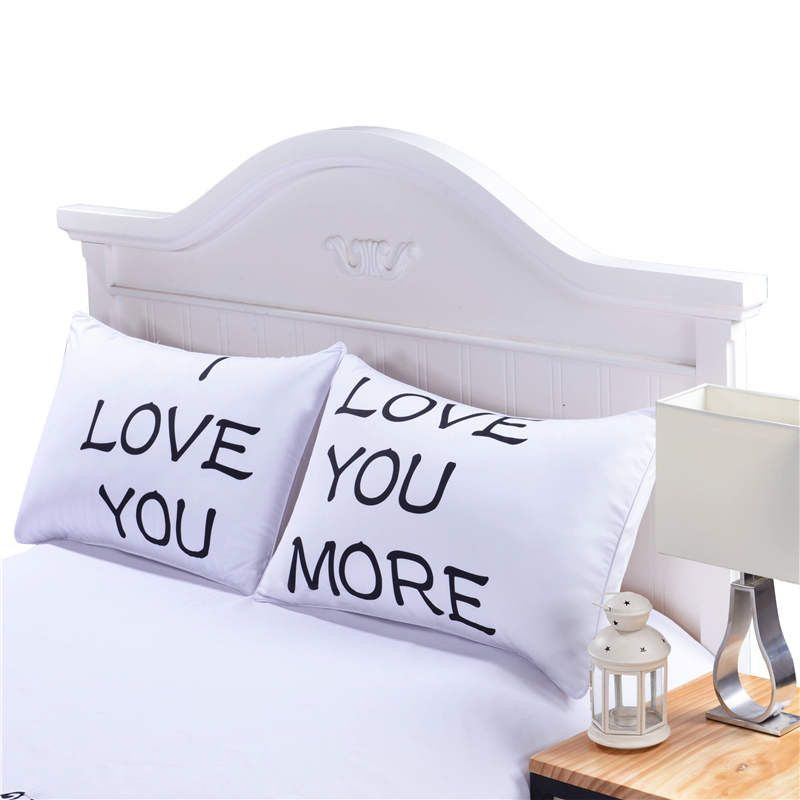 I LOVE YOU Pillow Case Cover Plain Printed Pillowcase Romantic Wedding Gift One Pair For Him