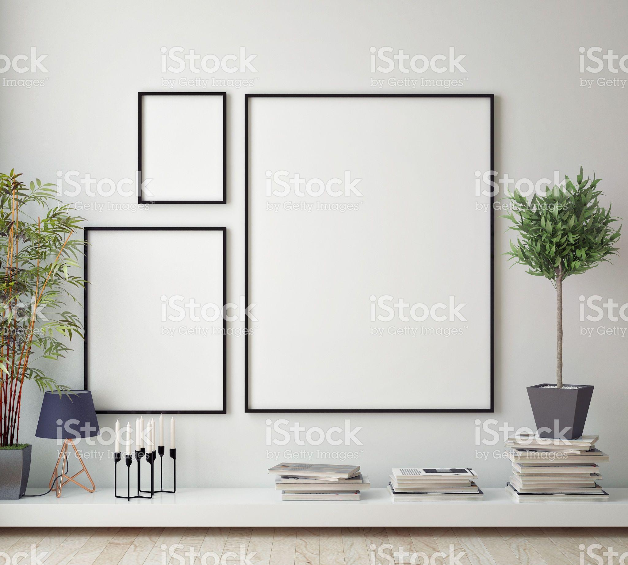 Mock Up Poster Frame In Hipster Room Scandinavian Style Interior  ~ Prateleiras Para Quarto Casal E Decoração Quarto Hipster