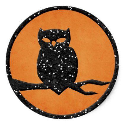 Black owl classic round sticker craft supplies diy custom design supply special
