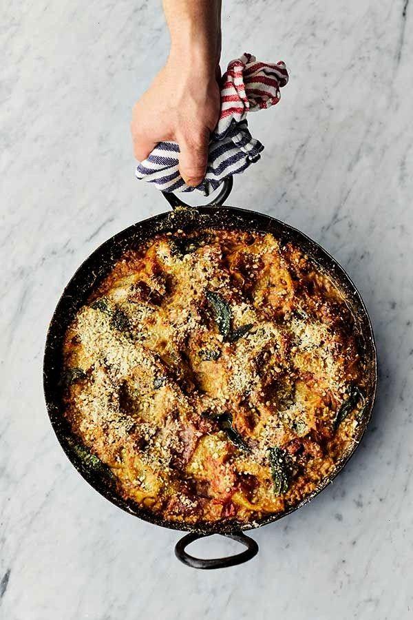 Oliver's Easy Aubergine Lasagne Recipe Sweet tomato sauce with garlic, sage & lemon, cheese & alm