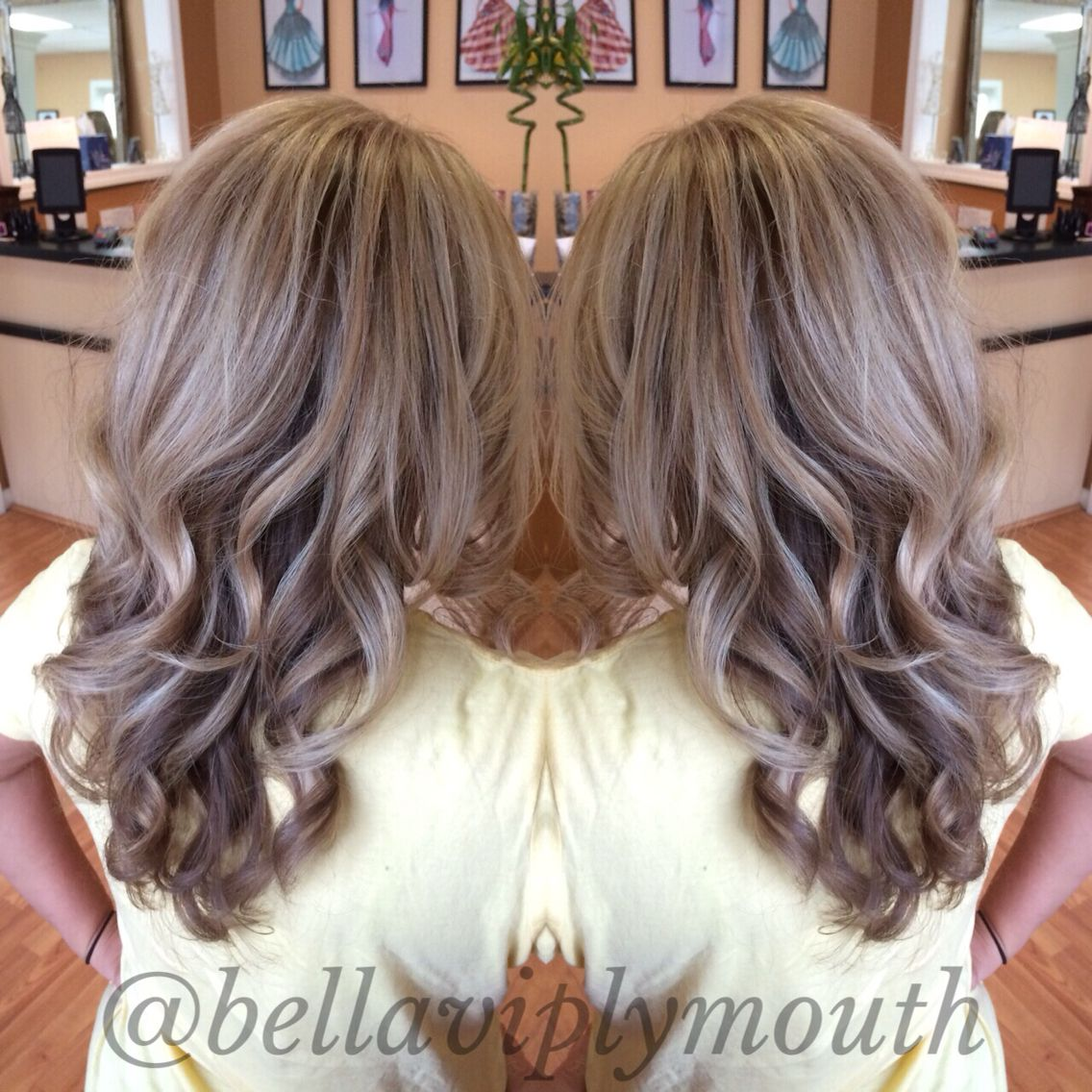 Ash blonde highlights with chocolate brown lowlights on long wavy ...