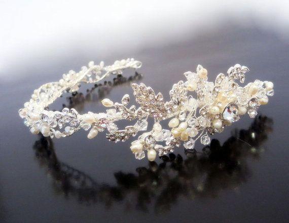 Wedding rhinestone and pearl headband Bridal by TheExquisiteBride