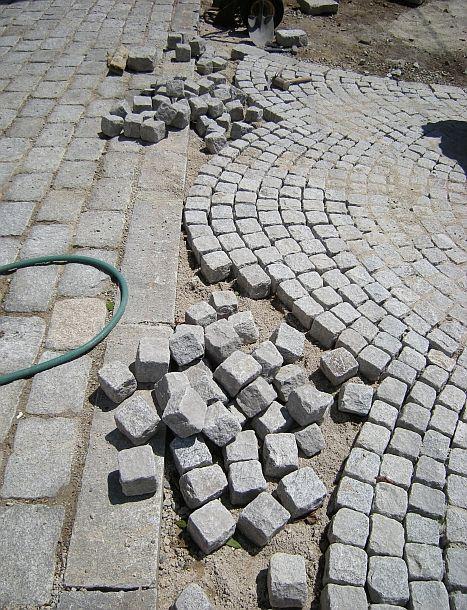 cobblestone walkways and driveways