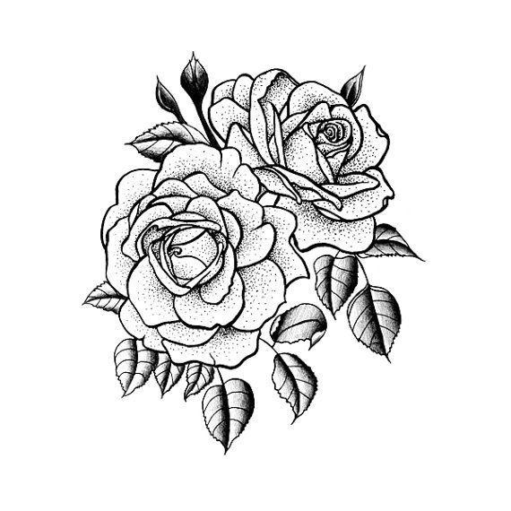 twin rose temporary tattoo set of 2 by tattify on etsy hair pinterest tattoo ideen. Black Bedroom Furniture Sets. Home Design Ideas