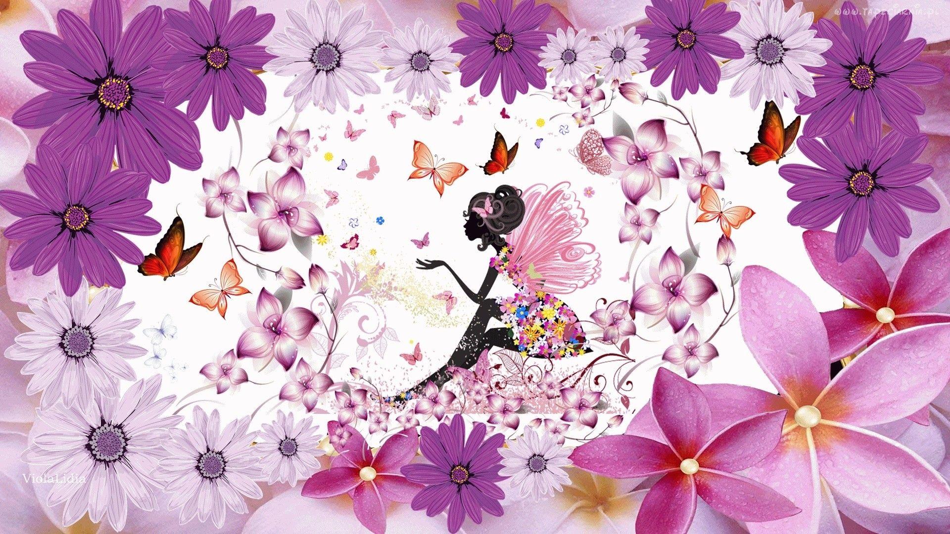 Wiosna Kwiaty Motyle Grafika Elf Fantasy Women Imac