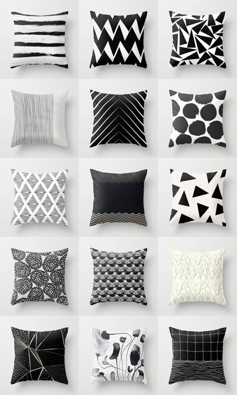 Georgiana Paraschiv Society6 Black And White Cushions Geometric Cushions Black And White Decor