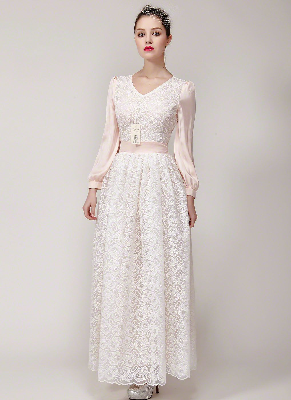 White organza embroidered lace maxi dress with nude pink sleeves and