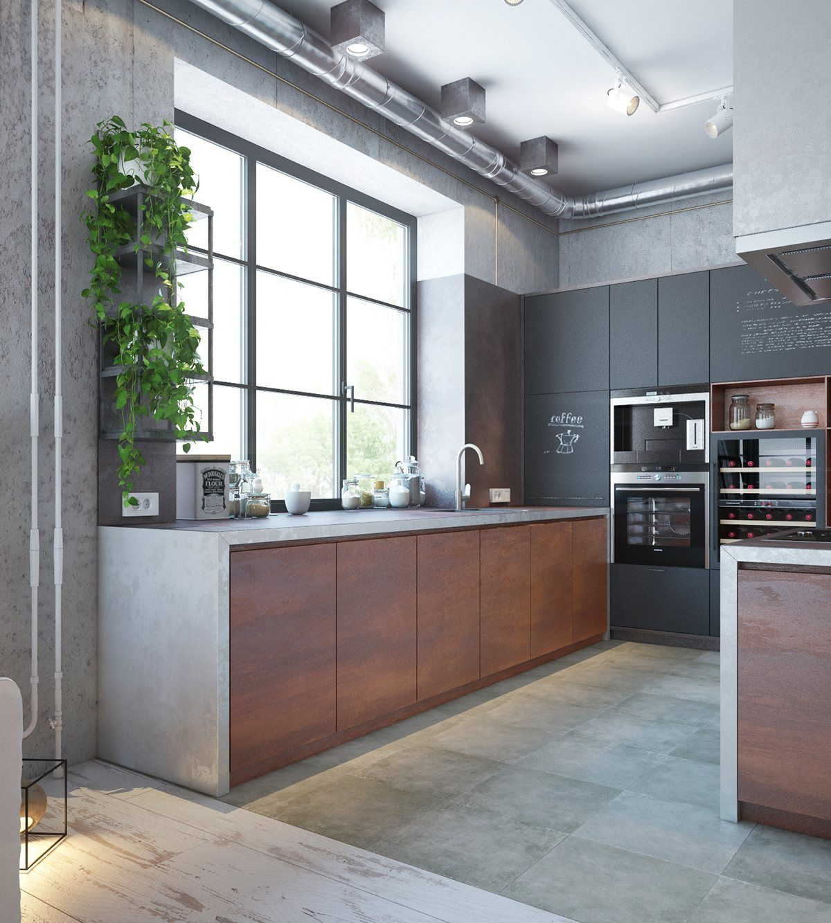 An Industrial Home With Warm Hues Industrial Home Design Modern Apartment Decor Industrial Kitchen Design