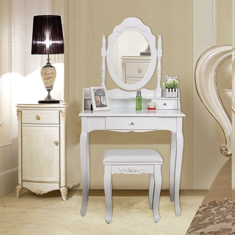 Schminktisch Frisierkommode mit Spiegel und Hocker, Weiß
