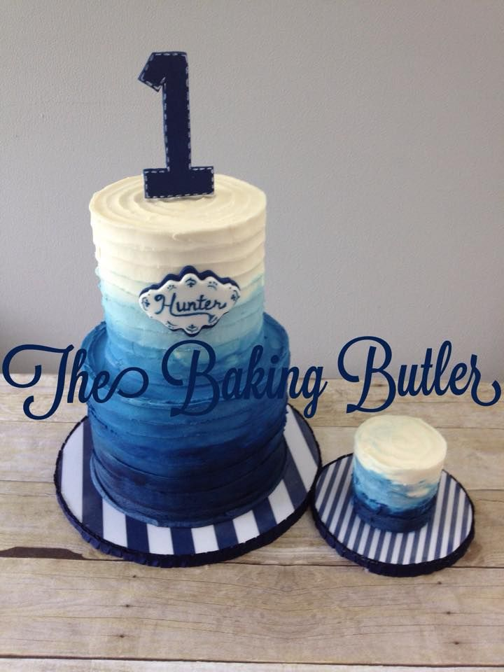 Blue ombre textured buttercream first birthday cake with matching